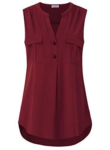 Bulotus Sleeveless Blouses for Women Business Casual Chiffon Tank Tops, Burgundy, X-Large