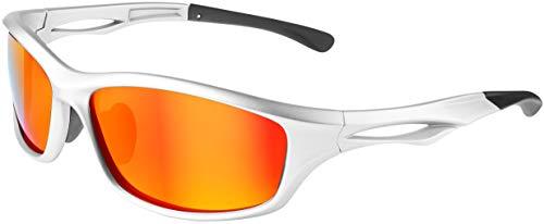 Balinco Polarisierte Sportbrille Sonnenbrille Fahrradbrille mit UV400 Schutz für Damen & Herren perfekt für Ski- und Snowboardfahrer für die Skipiste (Glossy Silver - Red Mirror)