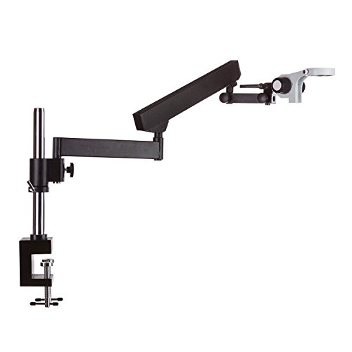 AmScope Articulating Stand with Post Clamp and Focusing Rack for Stereo Microscopes