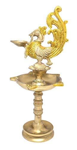 Fasherati - Lampada a Olio con Cinque stoppini in Ottone, Motivo: Pavone