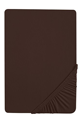 #30 biberna Jersey-Stretch Spannbettlaken, Spannbetttuch, Bettlaken, 90x190 – 100x200 cm, Mocca
