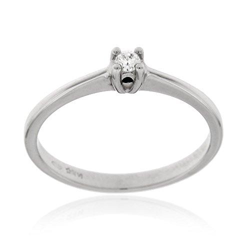 anello donna oro bianco con diamante Gioiello Italiano - Anello solitario in oro bianco 18kt con diamante 0.05ct