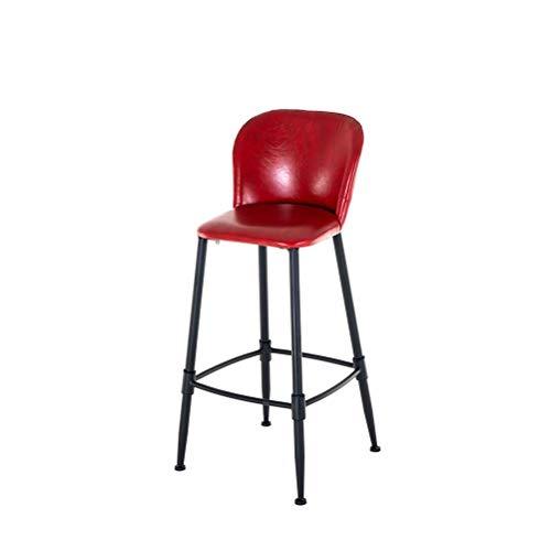 LRZS-Furniture Chaise de Bar Moderne Simple Art en Fer Support de Table en Bois Massif Combinaison de Chaise de Chaise Dossier européen Chaise de Bar (Couleur : Red)