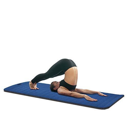 HOMCOM Yogamatte, rutschfeste Sportmatte, Gymnastikmatte mit Tragegurt, Blau, 183 x 75 x 1,8 cm