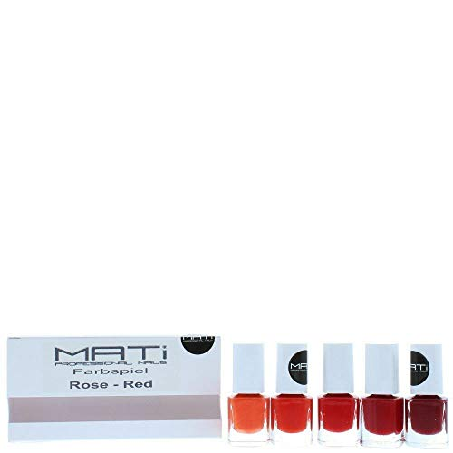 Vernis à ongles professionnel Mati – Ensemble cadeau de 5 flacons de 5 ml – Rouge/rose