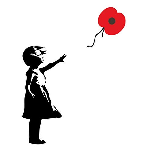 pegtopone Wall art graffiti vinyl Sticker, Banksy Girl with balloon Wall art graffiti vinyl Sticker Urban Influential British Girl Poppy Flower Sticker Window Car Laptop Decal