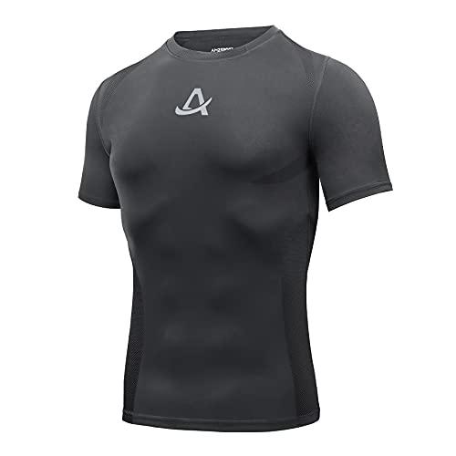 AMZSPORT Maglie Compressione Uomo Maglietta Palestra a Manica Corta T-Shirt Ciclismo Running, Grigio L