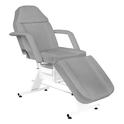 Activeshop Basic 202 Kosmetikliege Massageliege Massagetisch Massagestuhl Grau bis 150 kg belastbar Premium-PU-Leder mit Aufbewahrungsladen 180 x 60 x 75 cm (L x W x H)