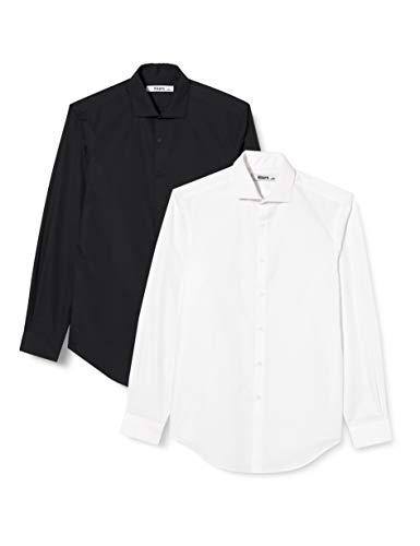 HIKARO HIK0024AM Formelle/Business Shirts, Mehrfarbig (Schwarz/Weiß), 38, 2er-Pack