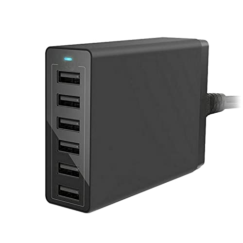 CareMont Cargador USB EstacióN de Carga USB de 6 Puertos Dispositivos MúLtiples Cargador Inteligente Adaptador USB, para, Androids, Etc -Enchufe UE