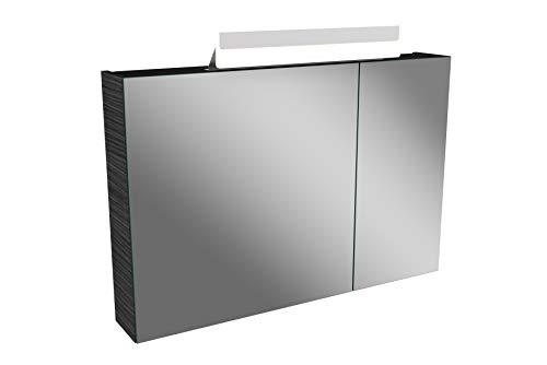 Lanzet LED Spiegelschrank L1 / Badschrank mit LED Leuchte/Maße (B x H x T): ca. 90 x 68 x 14,5 cm/Möbel fürs Bad oder WC/Badezimmer Schrank mit 2 Türen/Korpus: Schwarz/Front: Spiegel