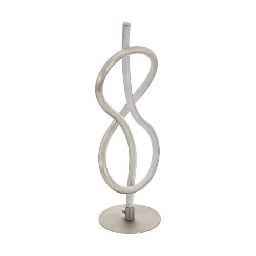EGLO LED Tischlampe Novafeltria, 1 flammige Tischleuchte, Nachttischlampe aus Stahl, Aluminium und Kunststoff, Wohnzimmerlampe in Nickel-Matt, weiß, Lampe mit Schalter
