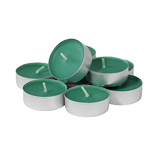 CandleNScent Colored Tea Light Candles | Unscented | Dark Green | Made in USA (Pack of 30)