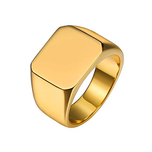 Custom4U Plain Signet Ring,Gold Stainless Steel Mens Ring,Engagement Ring for Boyfriend