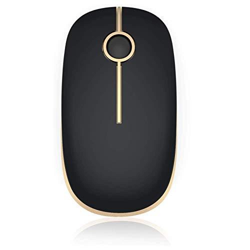 Jelly Comb Dual Bluetooth 4.0 + 2.4G Funkmaus, Wiederaufladbare Kabellose Schnurlose Optische Computermaus für PC, Laptop, Android Tablet, iPad, MacBook, Schwarz und Gold