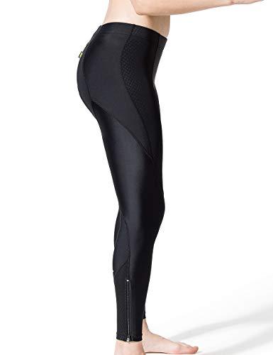XGC Damen Lange Radlerhose Fahrradhose Radhose Radsportshorts für Frauen Elastische Atmungsaktive 4D Schwamm Sitzpolster mit Einer Hohen Dichte (Black, S) - 3