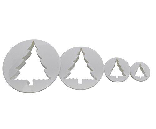 DeColorDulce Lot de 4 emporte-pièces en Forme d'Arbre de Noël, Blanc, 28 x 12 x 4 cm