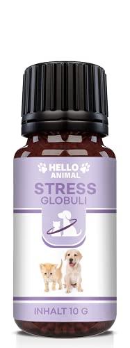 Hello Animal Anti Stress Globuli – pflanzliches Baldrian Beruhigungsmittel für Katzen und Hunde – wirkt unterstützend gegen Panikattacken, innere Unruhe und Angststörungen, rezeptfrei