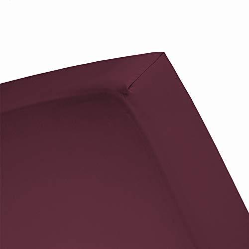 Damai Damai Double Jersey hoeslaken Bordeaux - 180x220 cm - 200x200 cm 100% katoen
