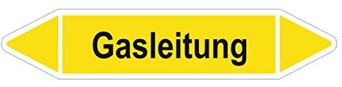10 Stück Rohrleitungskennzeichnungs-Aufkleber/Etiketten - Gasleitung - Größe 126x26mm Rohrleitungs-Etiketten Brauchwasser