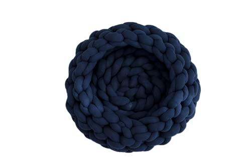 GYROHOME Nido circular anudado azul marino para mascotas, suave y suave, utilizado para dormitorio, sala de estar, sofá cama, sofá