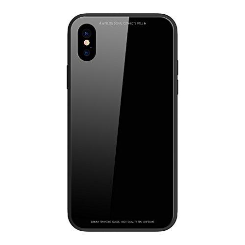 Funda® metalen frame + glazen achtervlak + TPU zachte Shell spiegelkast voor Apple iPhone X Apple iPhone X Zwart