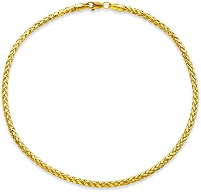 LoveBling 10k Yellow Gold 2.5mm Palm Wheat Chain Anklet with Lobster Lock (10