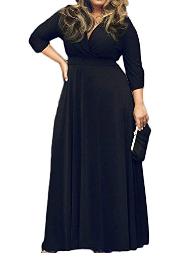 POSESHE Women's Solid V-Neck 3/4 Sleeve Plus Size Evening Party Maxi Dress Black X-Large (Apparel)