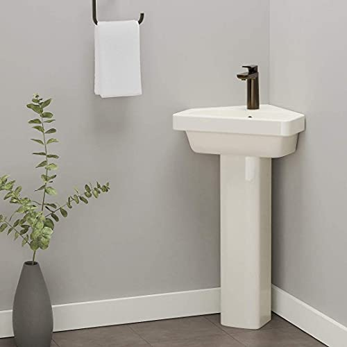 Magnus Home Products Aurora Corner Vitreous China Pedestal Bathroom Sink, 17 3/4