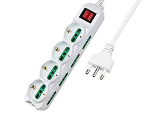 LEDLUX Regleta eléctrica con 12 tomas 4 tomas Schuko 10/16 A +...