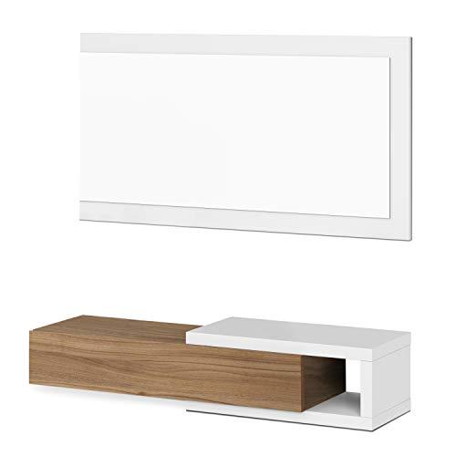 Habitdesign 0N6743A - Recibidor con cajón + Espejo, Medidas 19 x 95 x 26 cm de Fondo (Blanco Artik y Nogal)