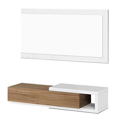 Habitdesign 0N6743A - Recibidor con cajón + Espejo, Modelo Noon, Acabado en Blanco Artik y Nogal, Medidas: 95 cm (Ancho) x 19 cm (Alto) x 26 cm (Fondo)