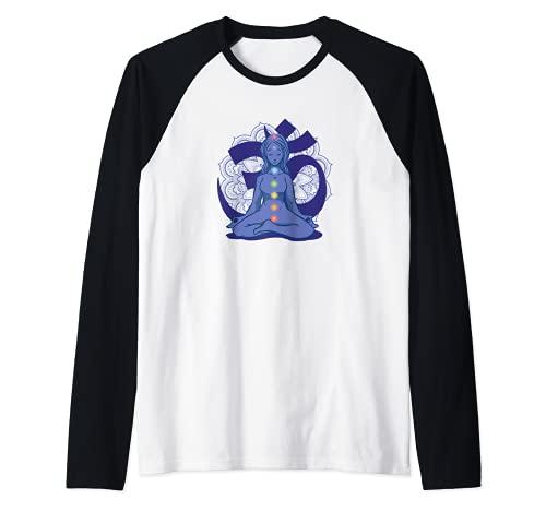 Yoga Meditación Zen-Yoga Mandala Reiki Cadena de chakras Camiseta Manga Raglan