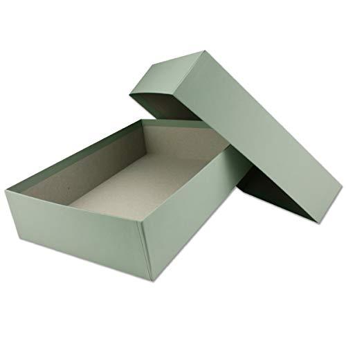 Hochwertige Aufbewahrungs- und Geschenkboxen - 1 Stück - DIN A4 - Eukalyptus (Grün) bezogen - 302 x 213 x 70 mm