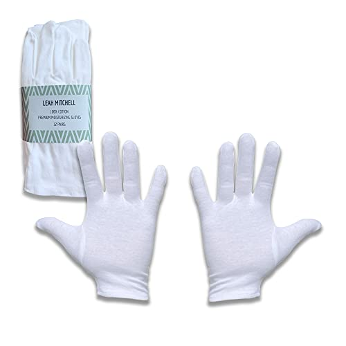 Leah Mitchell - (12 pairs) Moisturizing Therapeutic Gloves for Dry Hands Made with Premium 100%...