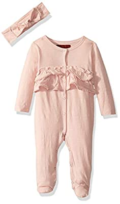 7 For All Mankind Baby Girls Footie, Solid Antique Pink, 0-3 Months