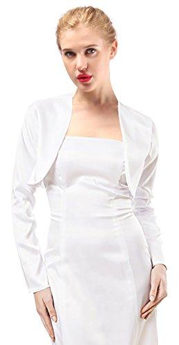 Alivila.Y Fashion Womens Satin Long Sleeve Bolero Shrug Jacket Cardigan A29-White-M
