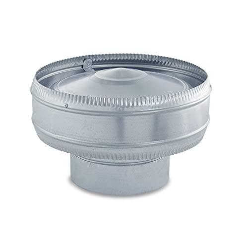 Sombrerete Antirrevocante galvanizado para sistemas de ventilación y extracción, chimeneas y estufas de leña y pellet, autoconectable (200 mm)