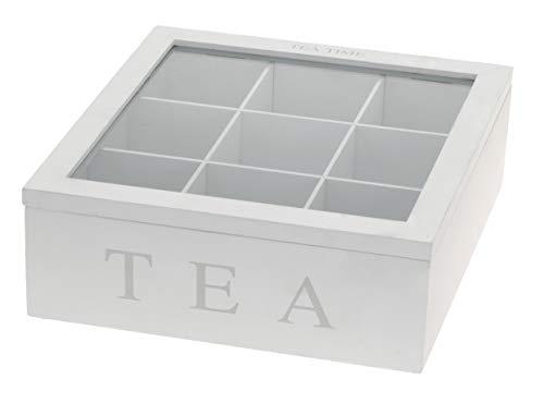 mucplants Teebox aus Holz in Weiß mit 9 Fächern Teekasten Teebeutelbox Teekiste