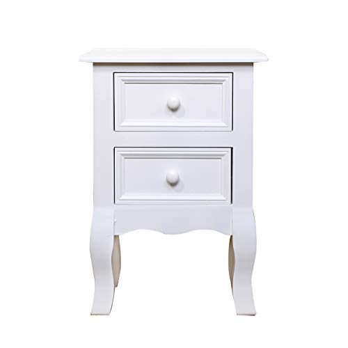 Vanimeu Shabby chic White Bedside Tables Nightstand Unit End Side Table with 2 Drawers for Bedroom Living Room (Shabby chic 2 Drawers)