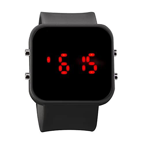 Aseyou Reloj digital deportivo para hombre, pantalla LED, resistente al agua, informal, luminoso, cronómetro, alarma, reloj de goma, Nº 9, Correas.