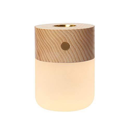 MXJXJ Wesentlich Waterless Zerstäubertest Öl Diffusor und Ambient-Nachtlicht, Holz und handgemachte Mattglas Aromatherapie Nachttischlampe für Arbeitszimmer Schlafzimmer-Raum-Yoga