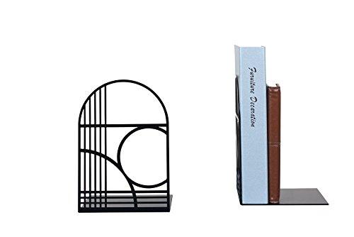 NEUN WELTEN Buchstützen der einzigartigen Linien für Schreibtisch und Regale (Schwarz)