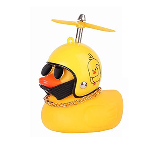 Home Holic Rubber Duck Toy Cute Creative Car Ornaments Handsome Duck Dashboard Interior Decoration Accessories With Propeller Helmet for Bicycle Motorcycle