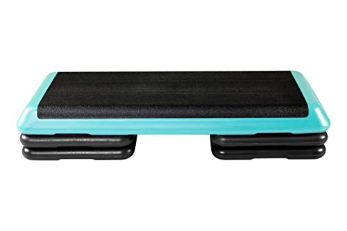 The Step (Made in USA) Original Aerobic Platform – Health Club Size – With Four Original Risers (Teal with Black Risers), One Size (F1005)