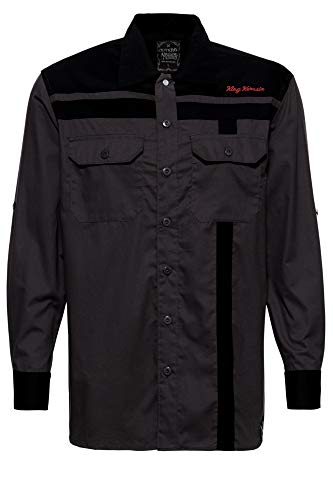 King Kerosin Roadsters Oil Camisa, Negro, XXXXXL para Hombre