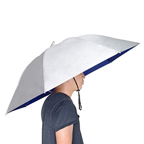 NVioAsport Fishing Umbrella Hat Folding Sun Rain Cap Adjustable Rubber Headband Multifunction Outdoor Headwear (Silver Grey Blue)