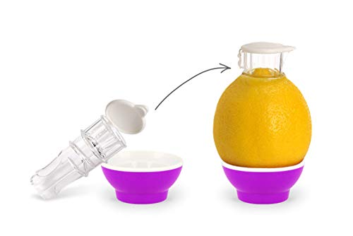 Patent-Safti Entsafter I Der Originale Safti Ausgießer für Zitronen, Orangen etc. I Einfacher als Jede Zitronenpresse oder Saftpresse I BPA frei, (Pink)