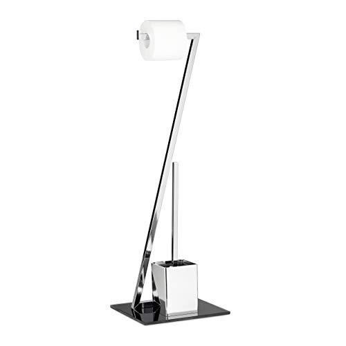 Relaxdays 10020452 Ensemble WC porte-brosse porte papier toilette en verre et en métal optique inox salle de bain rouleau brosse serviteur de toilette distributeur Argent-noir 77 x 25 x 25 cm