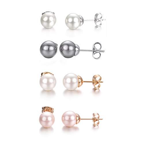 Yoursfs 4 Paires Lot Boucles d'oreilles Clous Perles de culture pour Femme Chic Nacré Piercing d'oreille puces
